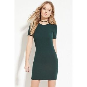 NWT FOREVER 21 Dark Green Bodycon T-Shirt Dress